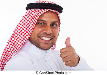arabic man giving thumb up - happy arabic man giving thumb...