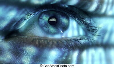 Human eye - Macro video of a human eye with binary code...