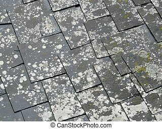 Old Slate Roof Tiles - Close Up Of Old Slate Roof Tiles