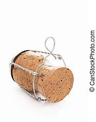 Cortical champagne corks on a white background