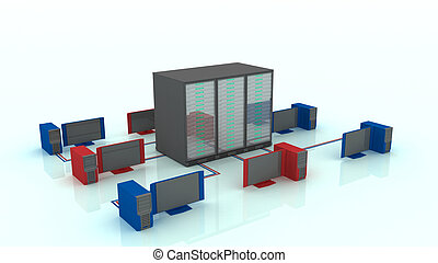 Big data servers - Big Data 3d illustration concept. A...