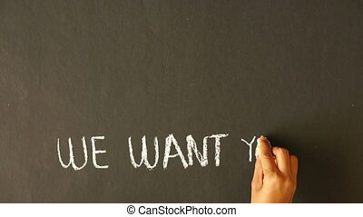 we want you - A person drawing a We Want you illustration...