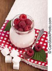 yogurt sundae with raspberries