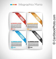 Infographic design template with paper tags. Ideal to...