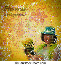 Abstract vintage shabby background with flowers and a woman