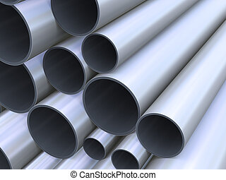 3d closeup of steel pipes