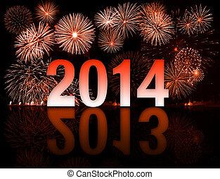 2013-2014, année, commutateur, feux artifice