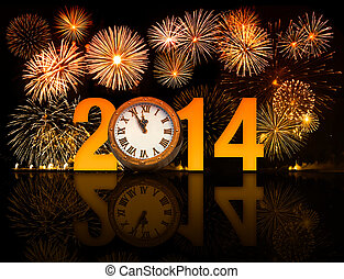 2014 year with fireworks and clock displaying 5 minutes...