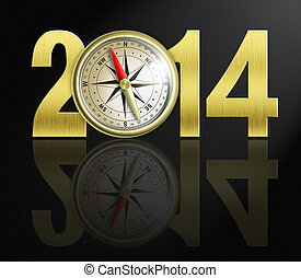 2014 new year digits with golden compass illustration