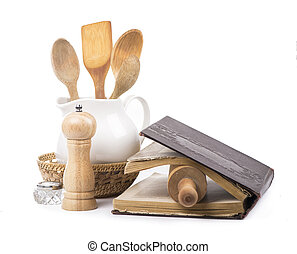 recipe-book and rolling pin on a white background