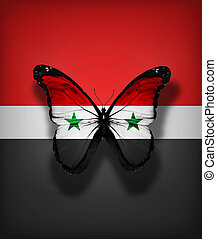 Syrian flag butterfly, isolated on flag background