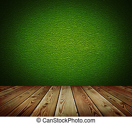Green wall and wood floor background