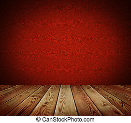 Red wall and wood floor background