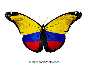 Colombia flag butterfly, isolated on white background
