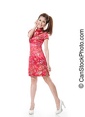 Chinese cheongsam girl - Smiling Chinese woman dress...