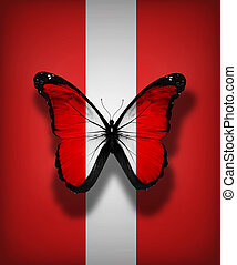 Peruvian flag butterfly, isolated on flag background