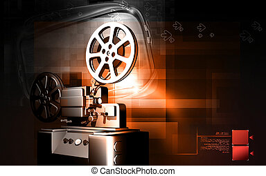Vintage projector - Digital illustration of a vintage...