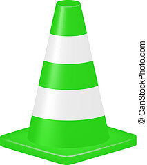 Green traffic cone isolated on white background