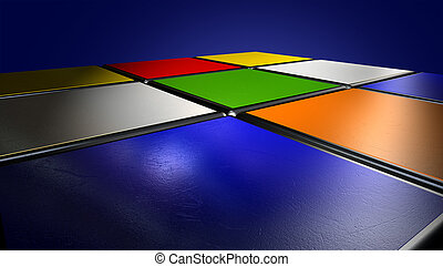 Rubiks Cube Extreme Closeup - A perspective view of an...