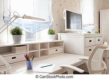 Schoolroom in home - Modern interior of schoolroom in...