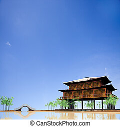 temple in Lake with nice sky
