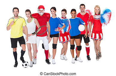 Large group of sports people Isolated on white