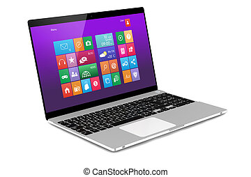 Computer mobility - Laptop on white background. Perspective