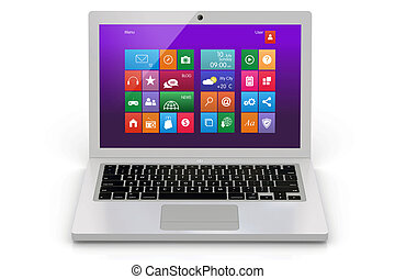 Laptop - White laptop. Front