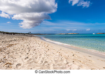 Illetes beach in Formentera island, Mediterranean sea, Spain