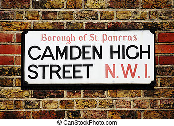 London Street Sign, Camden High Street, Borough of Camden