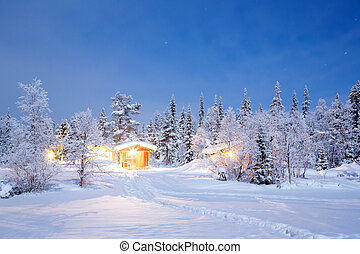 Winter Night Lapland Sweden - Winter landscape with cabin...