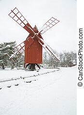 éolienne, hiver