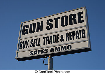 gun store sign in the United States