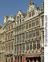Grand Place in Brussels - Guildhalls on the Grand Place,...
