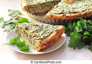 Sorrel tart with goat cheese