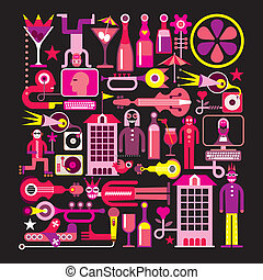 Music City Night - Night Club - vector illustration....