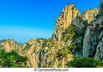 Huangshan Mountains And Trees - Huangshan in southern Anhui...