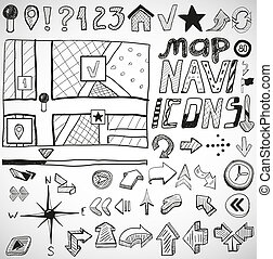Navigation hand drawn doodles - Vector set of black...