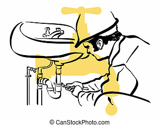 plumber - illustration of an plumber at work