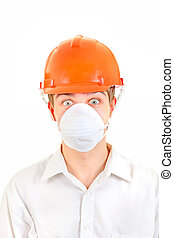 Surprised Man in Hard Hat Isolated on the White Background