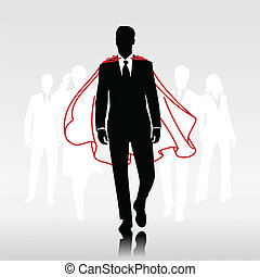 Team hero man - Businessman team hero with red cloak in...