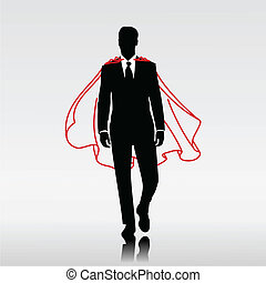Businessman Hero - Businessman hero with red cloak
