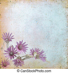 Vintage floral background with grass and flowers on a brown...