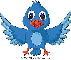 Funny blue bird cartoon posing - vector illustration of...