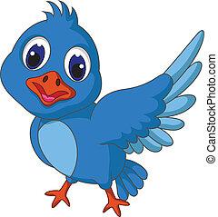 Funny blue bird cartoon posing