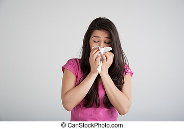 Allergy, Cold, Flu - allergies, the common cold, flu-woman...