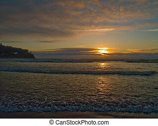 Oregon Sunset 2 - The sun is setting on the beach at Seaside...