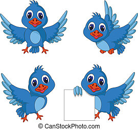 cute blue bird cartoon collection - vector illustration of...
