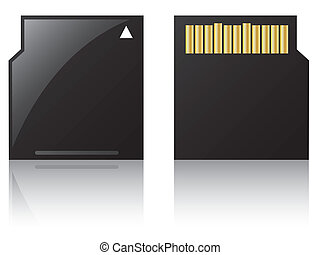 Mini sd card on white background with reflection