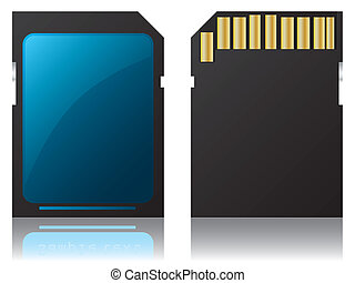 SD card - Sd card on white background with reflection